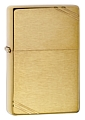 SKU-240  VINTAGE W/SLASHES BRUSHED BRASS ZIPPO LIGHTER