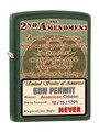 SKU-861187--ZIPPO GREEN MATTE FINISH 2nd AMENDMENT RIGHTS ZIPPO LIGHTER