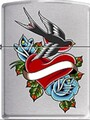 SKU-861583--ZIPPO SATIN CHROME FINISH HEART BIRD FLOWER TATTOO ZIPPO LIGHTER