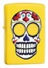 SKU-24894 DAY OF THE DEAD NEON YELLOW MATTE SKULL ZIPPO LIGHTER